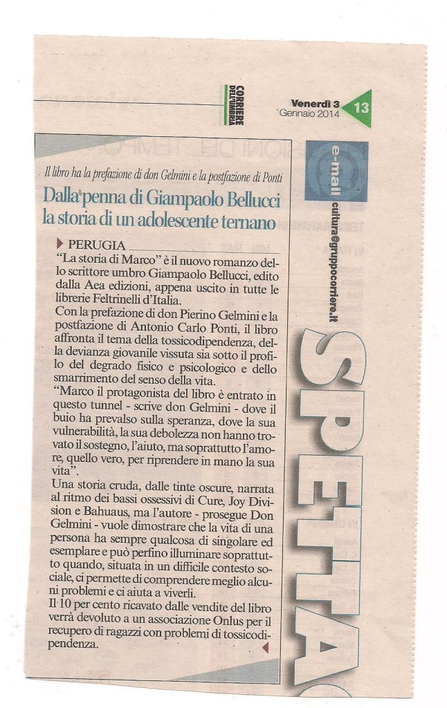 articolo corriere dell'umbria storia di marco